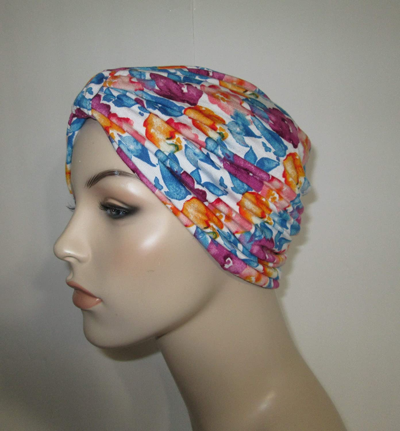 Chemo Hat Black Floral Turban Cancer Alopecia Stretch Knit