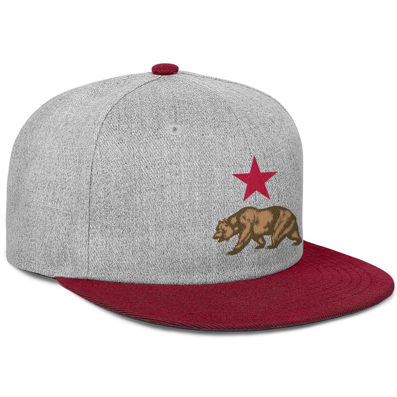 Mens Womens Trucker Hats California Star and Bear Snapback Classic Caps