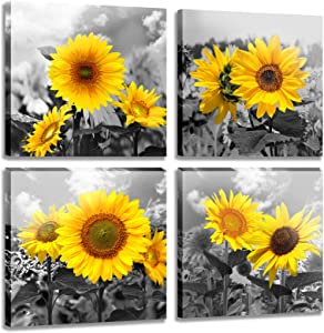 MESESE Wall Art Decor - 4 Panels Sunflower Canvas Wall Art Giclee Modern Home Decoration Watercolor Poster Canvas Picture for Living Room Ready to Hang