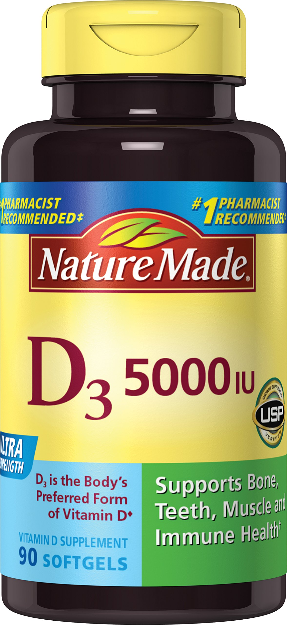 Nature Made Vitamin D3 5000 IU Ultra Strength Softgels 90 Ct