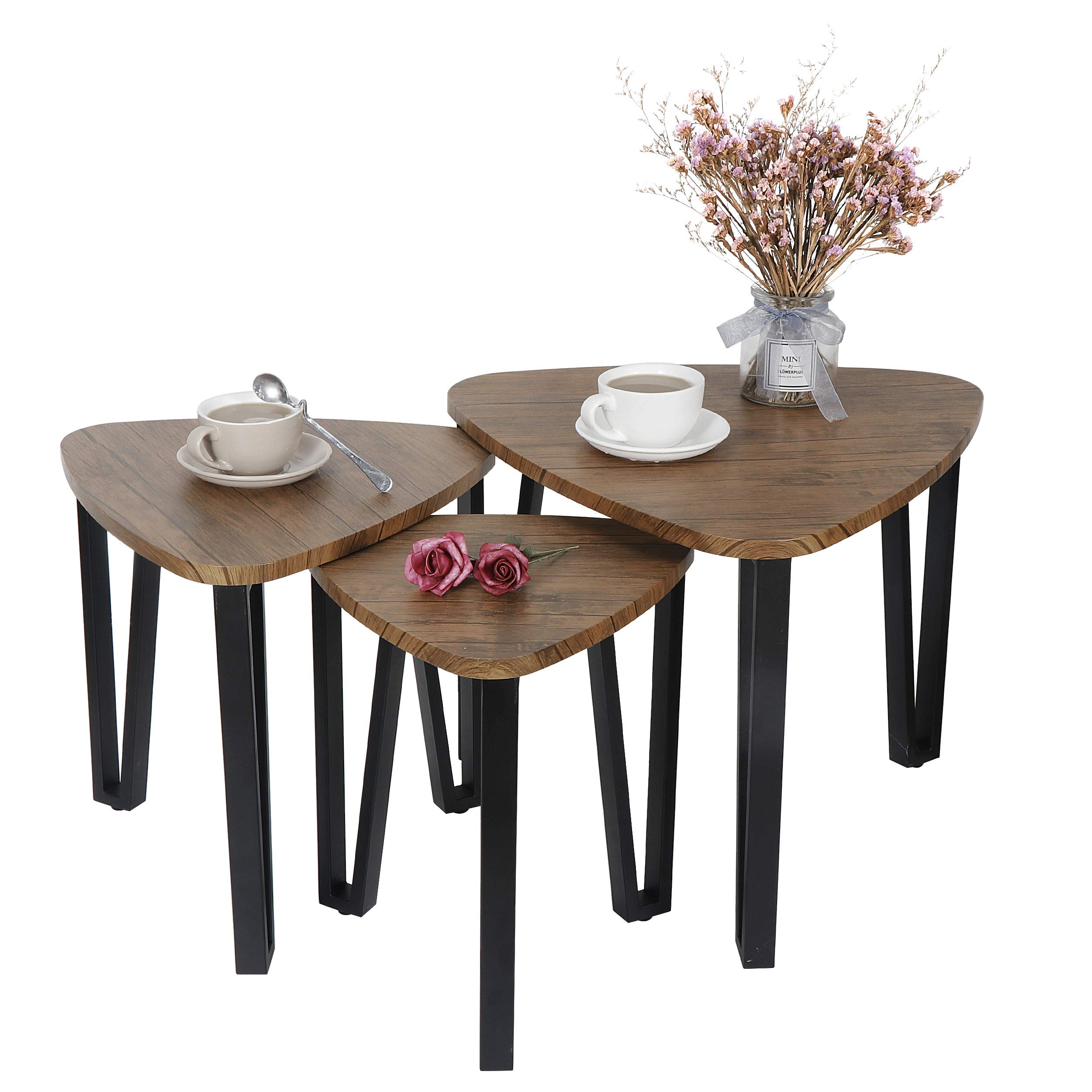 F2C Set of 3 Industrial Nesting Vintage End Coffee Tables - Stacking End Side Table Nightstands - Metal Framed Wood Look Accent Furniture for Home Office Living Room Bedroom by F2C