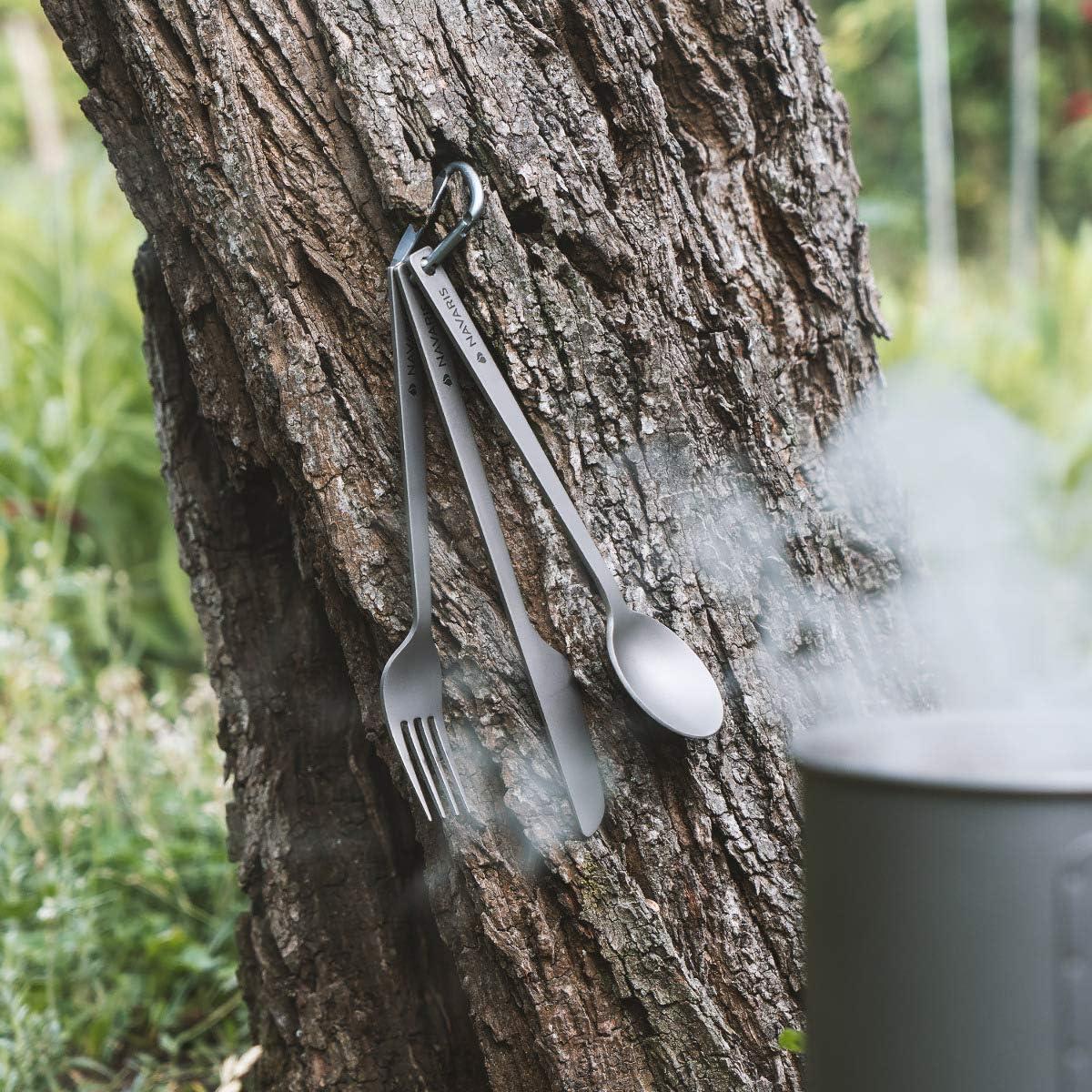 3X Cubiertos ultraligeros Cuchillo Cuchara y Tenedor para Acampada Picnic Viaje Senderismo Navaris Set de 3 Cubiertos de Titanio para Camping