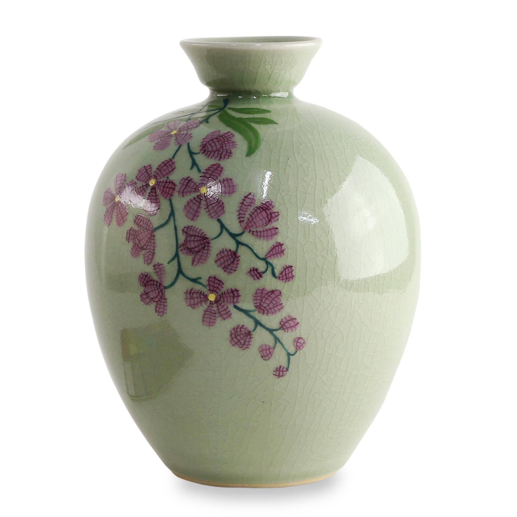 NOVICA Decorative Ceramic Celadon Vase, Green and Pink, 'Round Garden'