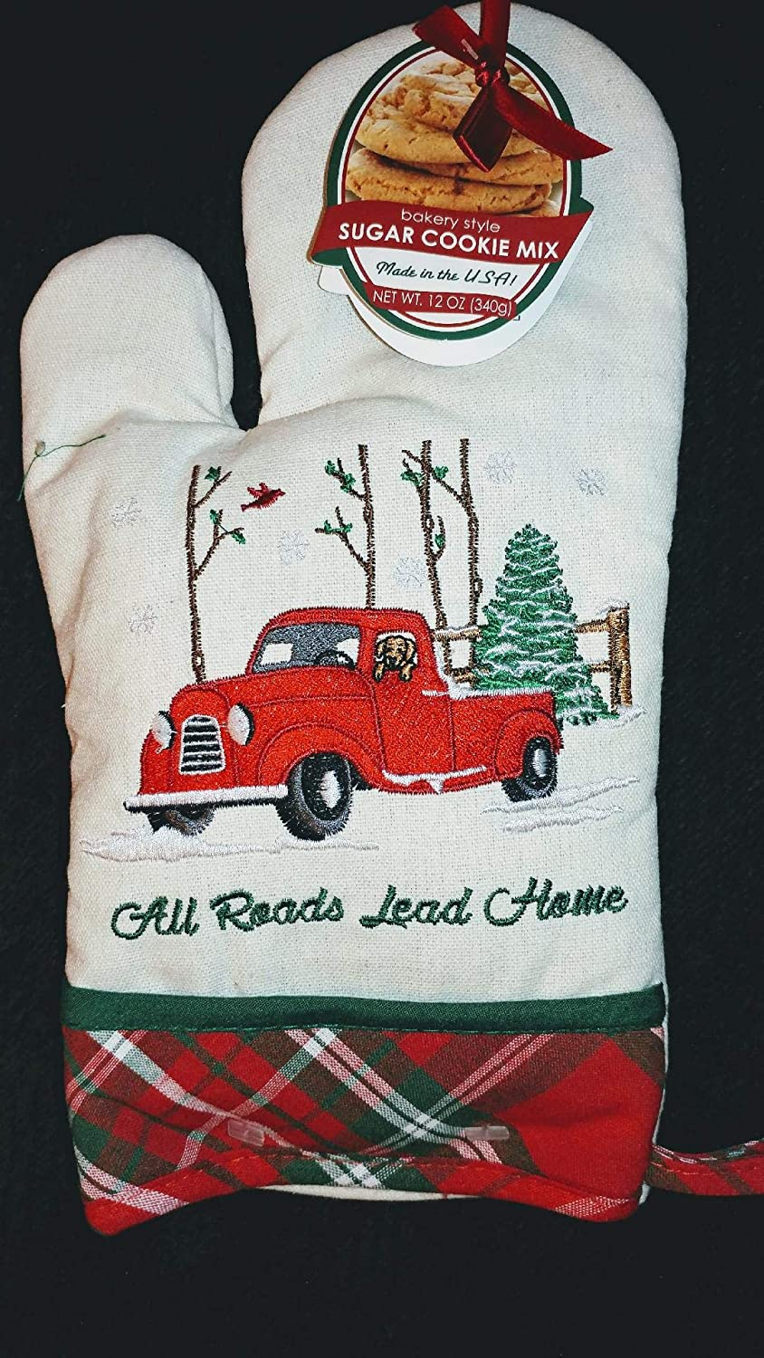 Christmas Oven Mitt All Roads Lead Home with cookie mix