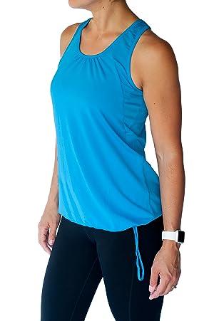 TEMA Athletics Women's Plus-Size Bungee Activewear Yoga Workout Tank Top Gym (2X, Blue)