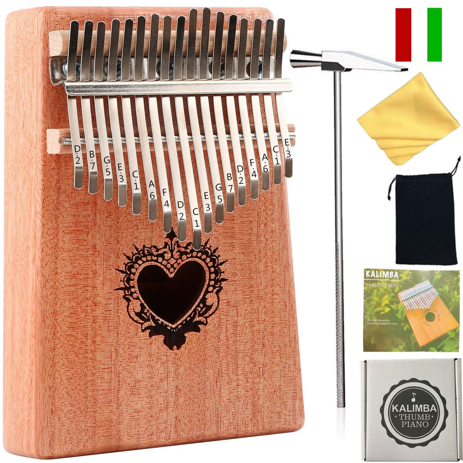 Thumb Piano Ranch Kalimba 17 keys Finger Mbira with Online 6 Free Lessons Solid Wood Mahogany Christmas Gifts with Bag/Scale Sticker/Tune Hammer/Music Book - Angel Heart