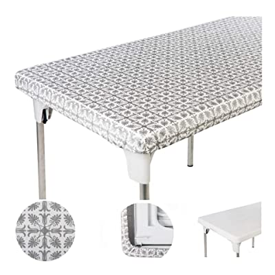 TopTableCloth Table Cover Silver Patterned Elastic on The Corner for Folding Table 6 ft 30 x 72 inch Waterproof Elastic Edge Fitted Stay Put Table Cloth for Travel Christmas Picnics Parties Outdoor: Health & Personal Care