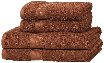 AmazonBasics - Juego de toallas (colores resistentes, 2 toallas de baño y 2 toallas