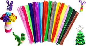 Livingify 300 Pieces Pipe Cleaners Craft | Chenille Stems for Kids | Bulk Pipes Cleaner Crafting Supplies in White, Red, Black, Green DIY Arts & Crafts (6 mm x 12 Inch)