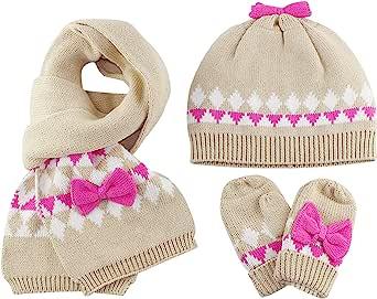 Bebé Niñas Gorro Bufanda Guantes de punto 3pzs Conjunto Invierno 1-4 años Sombrero gorra pañuelo manoplas cálido nudo de arco Caqui