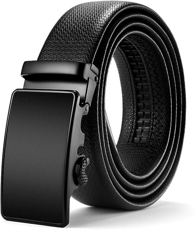 Fairwin Cintur/ón Cuero Hombre Cinturones Piel con Hebilla Autom/ática y Dise/ño Invisible de la Cola del Cintur/ón Caja de Regalo