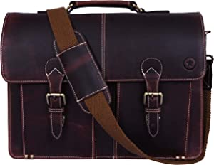 "15.5"" Leather Briefcase Messenger Bag for Laptop by Aaron Leather (Walnut)"