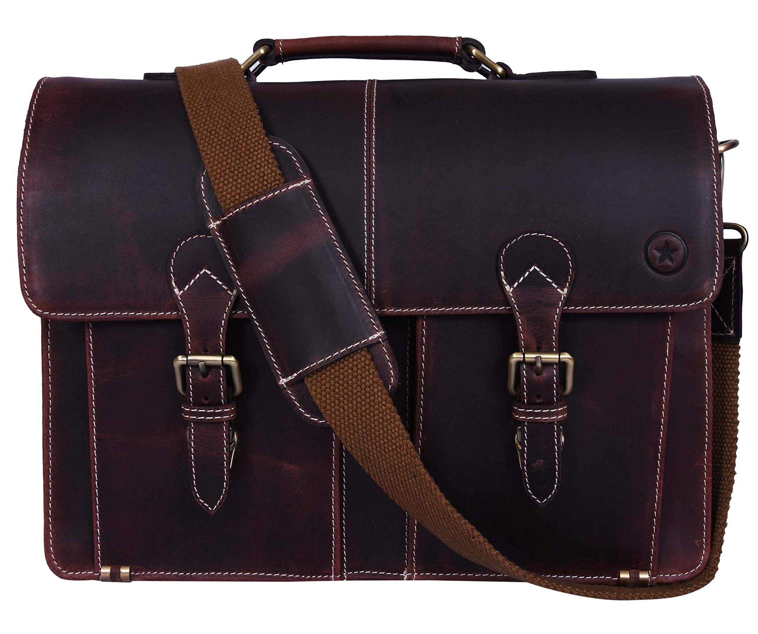 15.5'' Leather Briefcase Messenger Bag for Laptop by Aaron Leather (Walnut) by AARON LEATHER GOODS VENDIMIA ESTILO (Image #1)