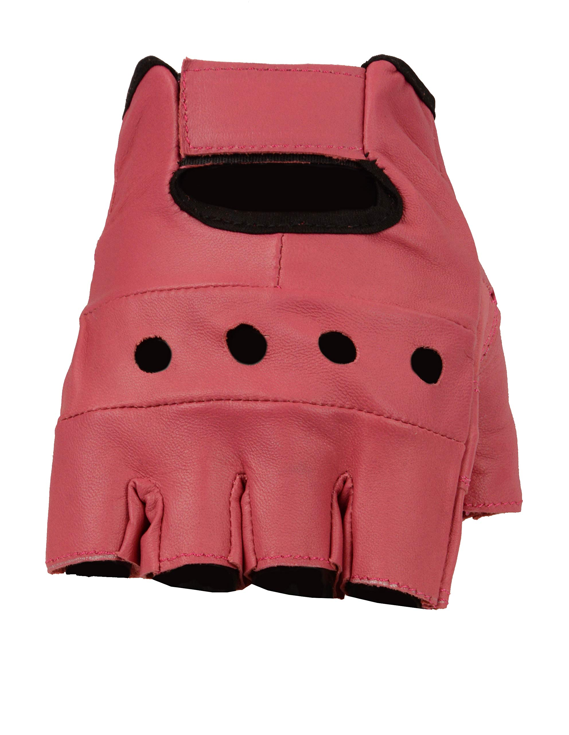 The Bikers Zone Women's Leather Fingerless Gloves, Soft Lambskin Leather (Fuchsia, S)