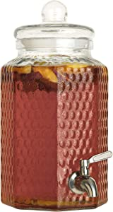 1 Gallon Glass Beverage Dispenser with Stainless Steel Spigot - Decorative Mason Jar Drink Dispenser for Parties, Fridge, Sun Tea, Iced Tea, Kombucha and Water
