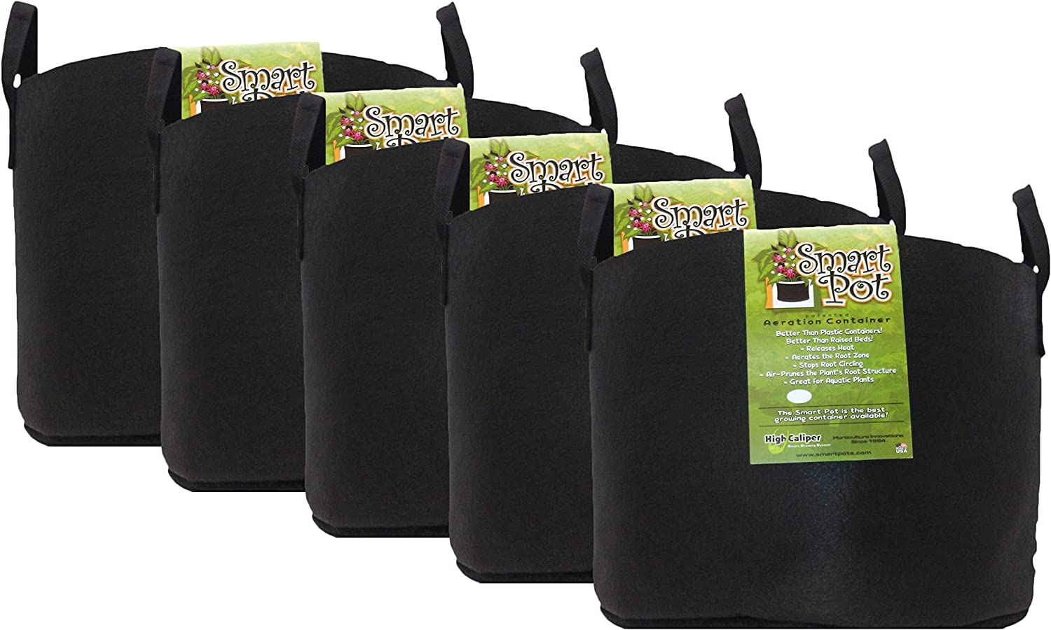 Smart Pot Soft-Sided Fabric Garden Plant Container Aeration Planter Pots with Strap Handles, 15 Gallon, 5 Pack, Black