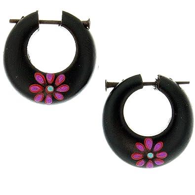 Amazon Com Handmade Purple Twilight Flower Areng Wood Tube Basket