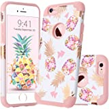 GuaGua iPhone 6 Case iPhone 6S Case Floral Pineapple Slim Hybrid Hard PC Soft Silicone Glossy Shockproof Protective Anti-slip Phone Case for Apple iPhone 6/6S Cover for Girls&Women Rose Gold White