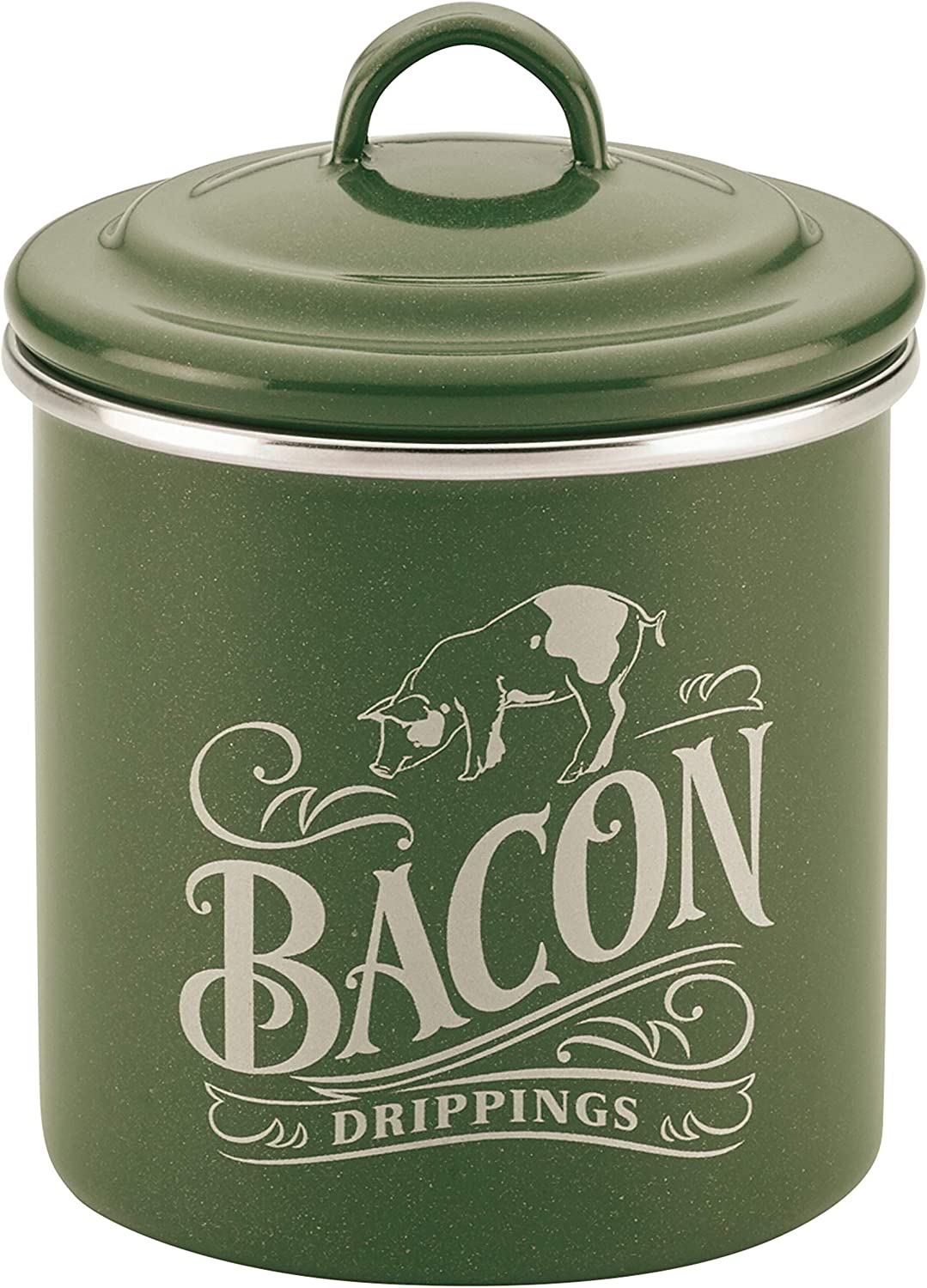 Ayesha Curry 47989 Enamel on Steel Bacon Grease Can / Bacon Grease Container - 4 Inch, Green