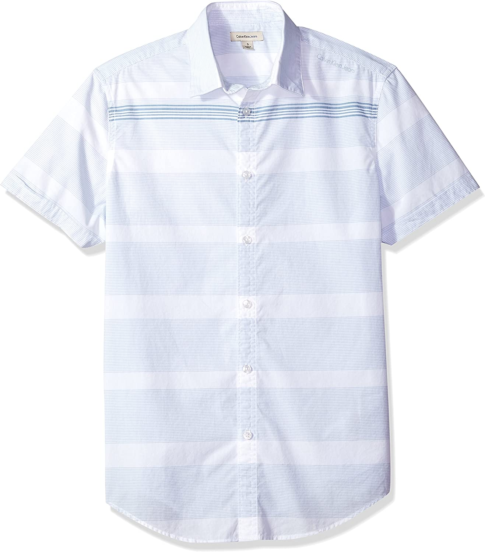Calvin Klein Hombre 41H7240 Manga Corta Camisa de Botones - Blanco - X-Large: Amazon.es: Ropa y accesorios
