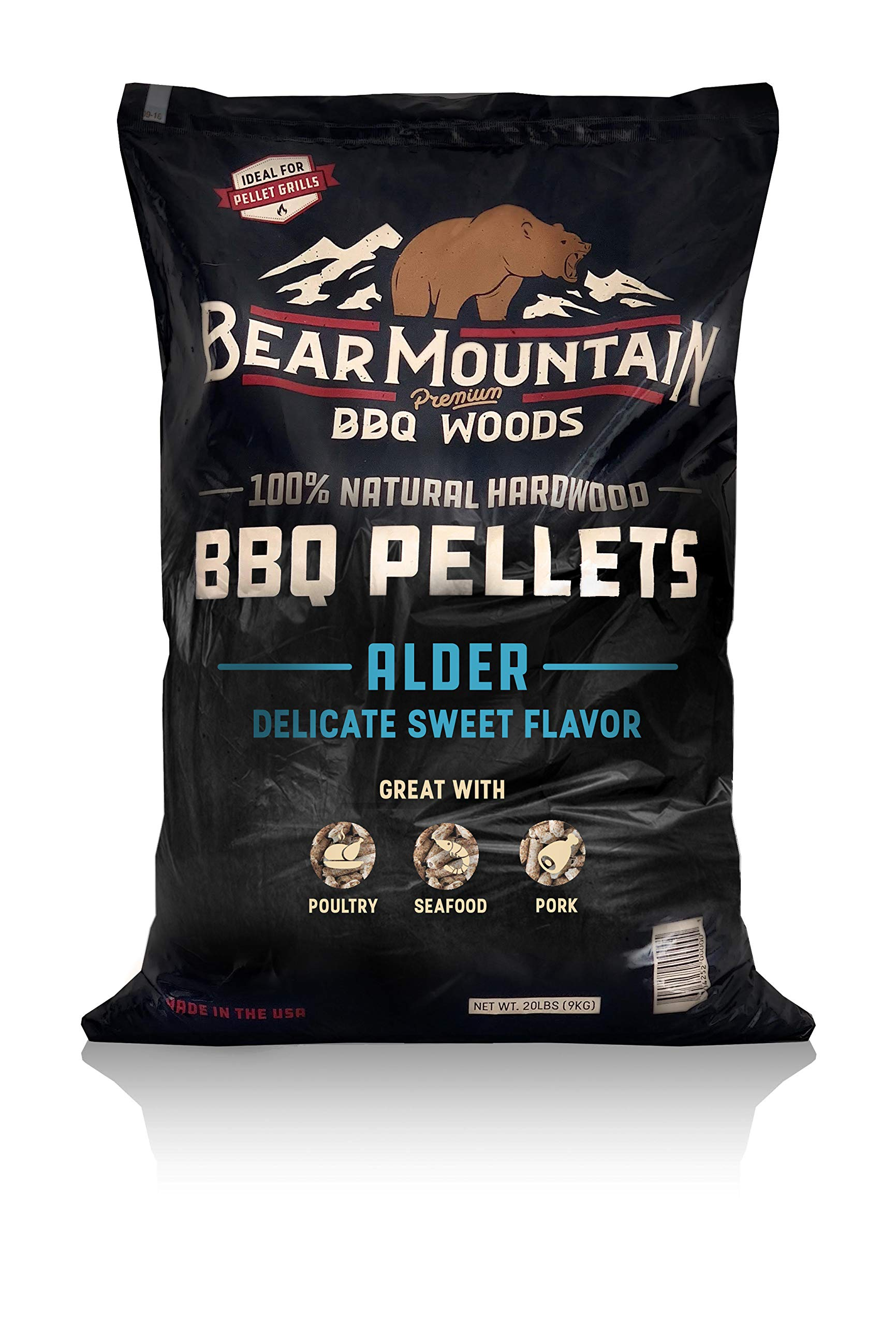 Bear Mountain BBQ 100% All-Natural Hardwood Pellets - Alder Wood (20 lb. Bag) Perfect for Pellet Smokers, or Any Outdoor Grill   Rich, Smoky Wood-Fired Flavor