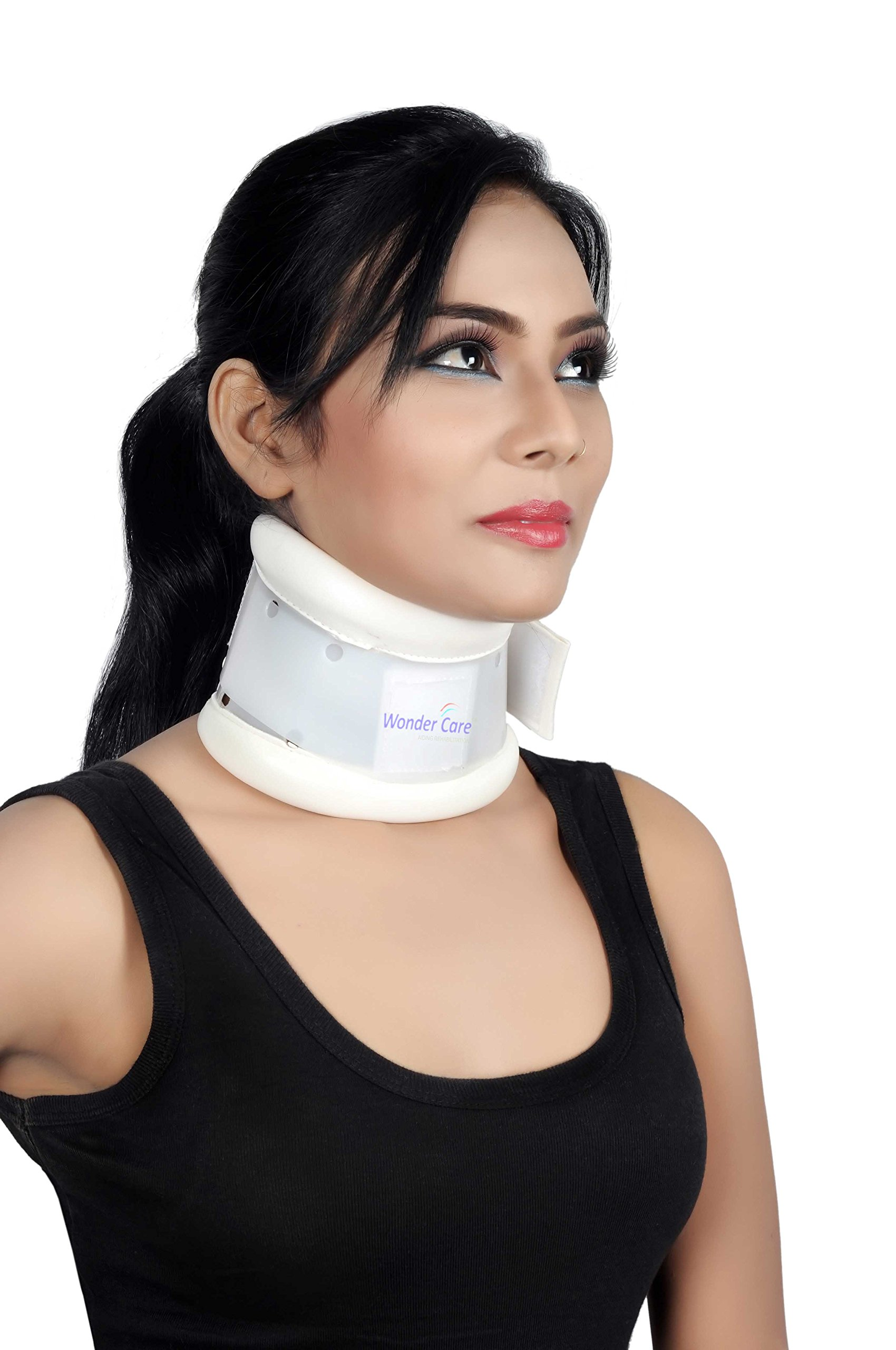 Wonder Care- Rigid Cervical Collar | Plastic Neck Support Brace Adjustable height Collar Neck Support Brace, Wraps Aligns & Stabilizes Vertebrae - Relieves Pain & Pressure in Spine- C103 - L