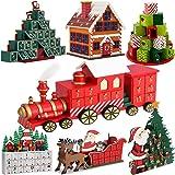 """Calendrier de l'Avent Noël """"locomotive"""" en bois avec tiroirs pour remplissage individuel"""