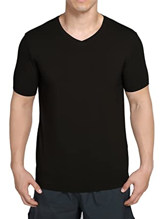 eb1759a9fb05 worboo Bamboo T-Shirt for Men, Breathable Soft Plain Men's Undershirts - V  Neck