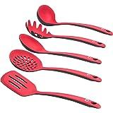 Levivo Juego de utensilios de cocina de silicona / set de 5 cubiertos de silicona, formado por paleta, espumadera, cucharón, cuchara para espaguetis, cuchara salsera, Rojo/Negro