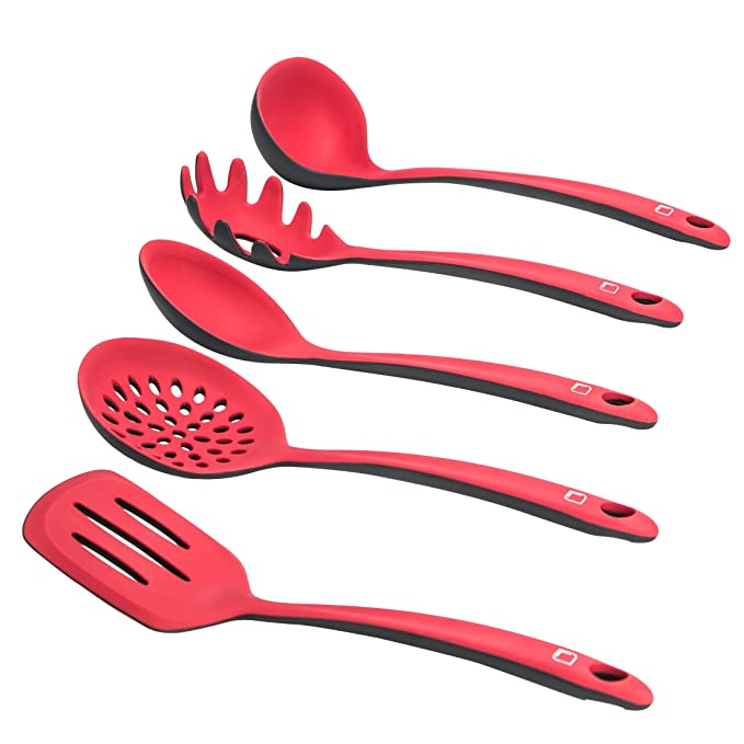 33 opinioni per LEVIVO SET331400000210 Set da 5 per Cucina in Silicone, Rosso/Grigio, 38x28x8 cm