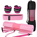 bridawn Barbell Pad Set for Squats Hip Thrusts Upgraded Bar Neck Pads Workout Foam Weightlifting Cushion with 2 Gym Ankle Str