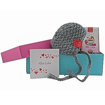 Baby Geschenkset Geschenkset Baby Mutze Grau Mit Tee Gratis