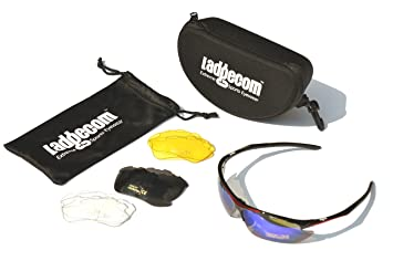 Black & Red Ladgecom Sports Sunglasses with Smoke Lenses and Spare Yellow Lens with Case and Cloth Hzz98nS