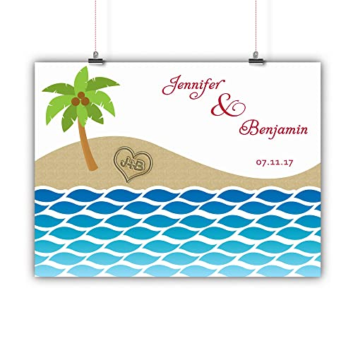 Personalized Wedding Tree Guest book Alternative Customized Poster, Print,  Framed or Canvas, Beach Themed Palm Tree 50 Signatures