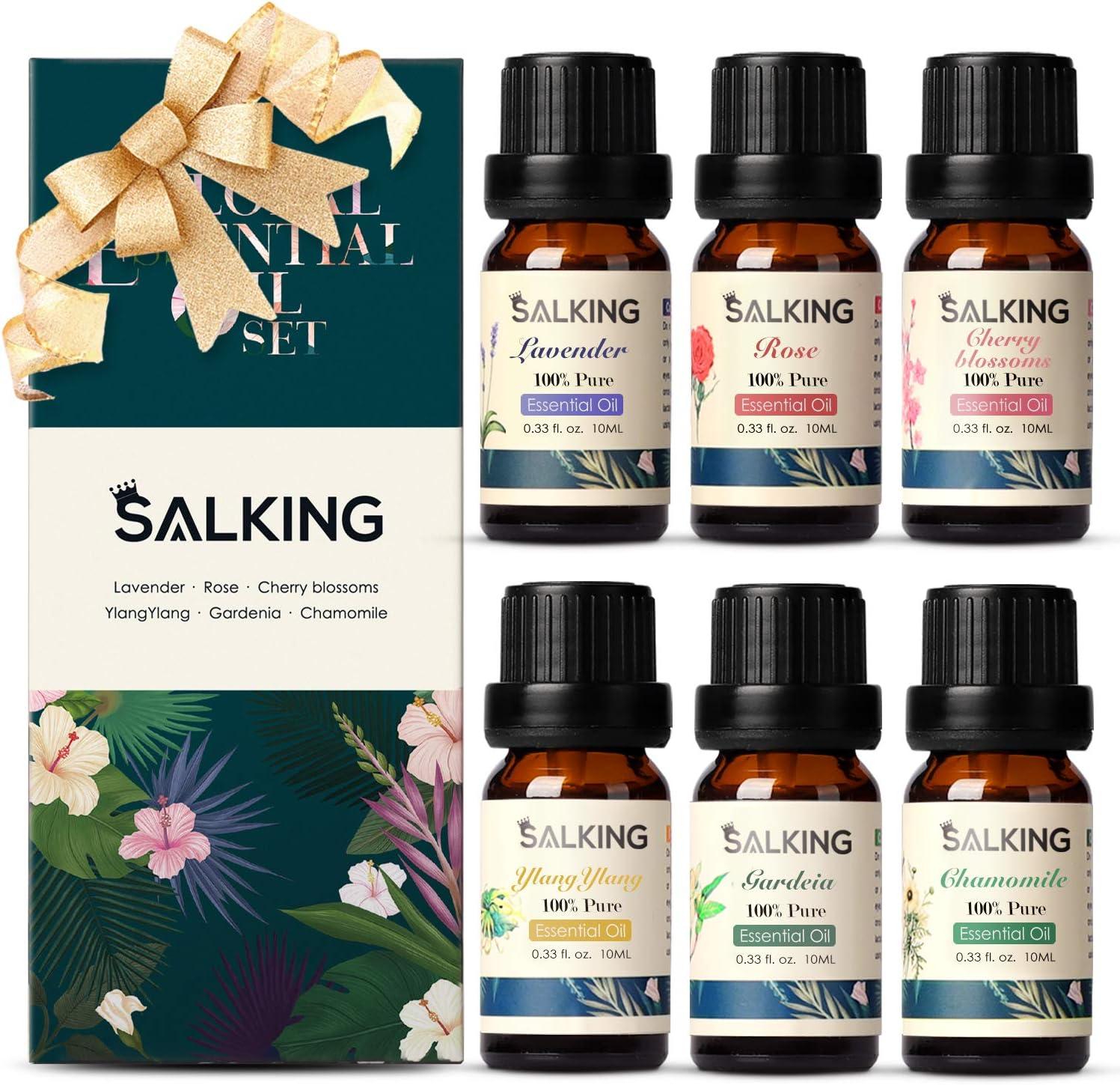 SALKING Aceites Esenciales Naturales para Humidificador,6 x 10 ml Flores Aceites Esenciales Aromaterapia 100% Puro Natural-Lavanda,Rosa, Flor de cerezo, Ylang Ylang, Gardenia, Manzanilla