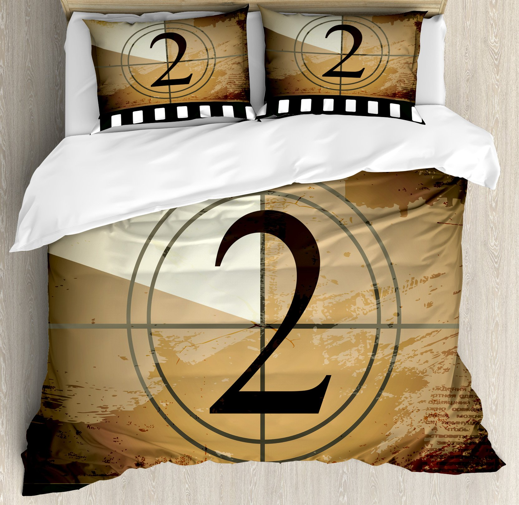 Ambesonne Movie Theater Queen Size Duvet Cover Set, Countdown Screen Illustration with Number 2 on Grunge Background, Decorative 3 Piece Bedding Set with 2 Pillow Shams, Pale Brown Black White