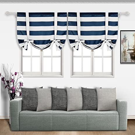 Deconovo Navy Blue Striped Blackout Curtains Rod Pocket Nautical And Greyish White Tie