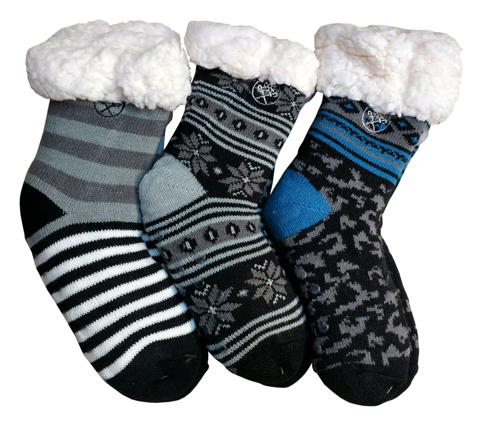 Frozen Folk Kids Fleece-Lined Cozy Sherpa Fluffy Cloud Socks, Warm (3 Pairs Boys)