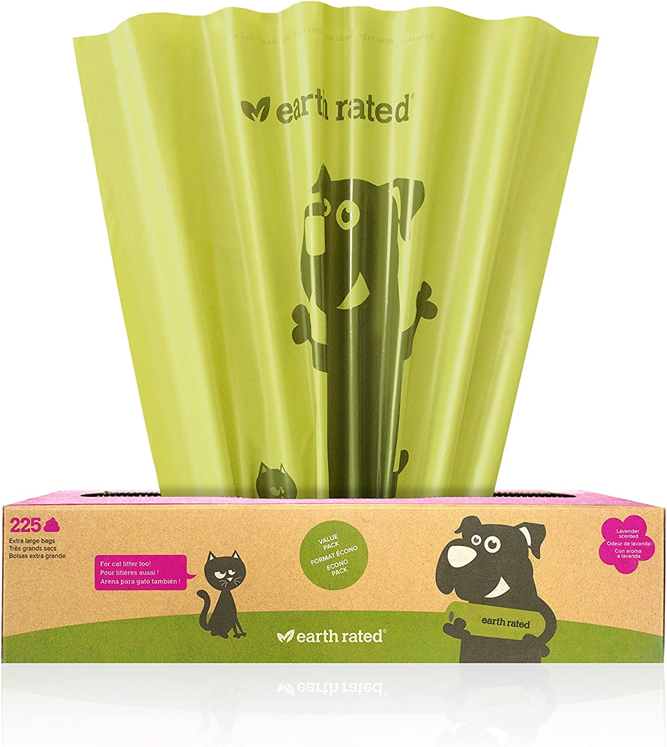Earth Rated Extra Large Poop Bags, Poop Bags for Large Dogs, 225 Bags on a Large Single Roll, Each Cat Poop Bag Measures 11 x 13 inches