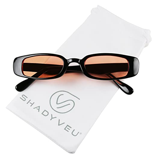 0b7ba6b5a6b2 ShadyVEU - 90 s Inspired Retro Colorful Tint Lens Shades Rectangular Vintage  Slim Clout Oval Sunglasses (