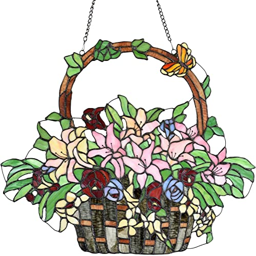 Bieye W10037 Lily and Rose Flower Gaily Decorated Basket Tiffany Style Stained Glass Window Panel with Chain, 20 W x 24 H