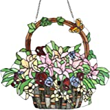 "Bieye W10037 Lily and Rose Flower Gaily Decorated Basket Tiffany Style Stained Glass Window Panel with Chain, 20"" W x 24…"