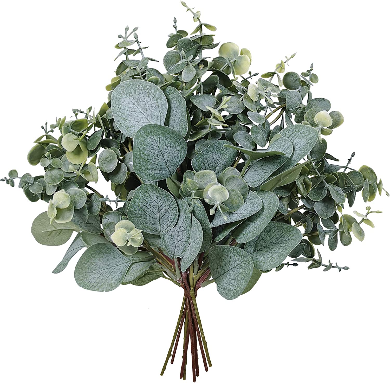 10 Pcs Mixed Eucalyptus Leaves Stems Bulk Artificial Silver Dollar Eucalyptus Leaves Picks Faux Eucalyptus Leaves Branches for Vase Bouquets Floral Arrangement Wreath Farmhouse Rustic Greenery Decor