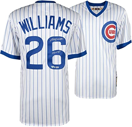 78dcebb2158 Billy Williams Chicago Cubs Autographed Majestic Cooperstown Collection  White Replica Jersey with HOF 87 Inscription -
