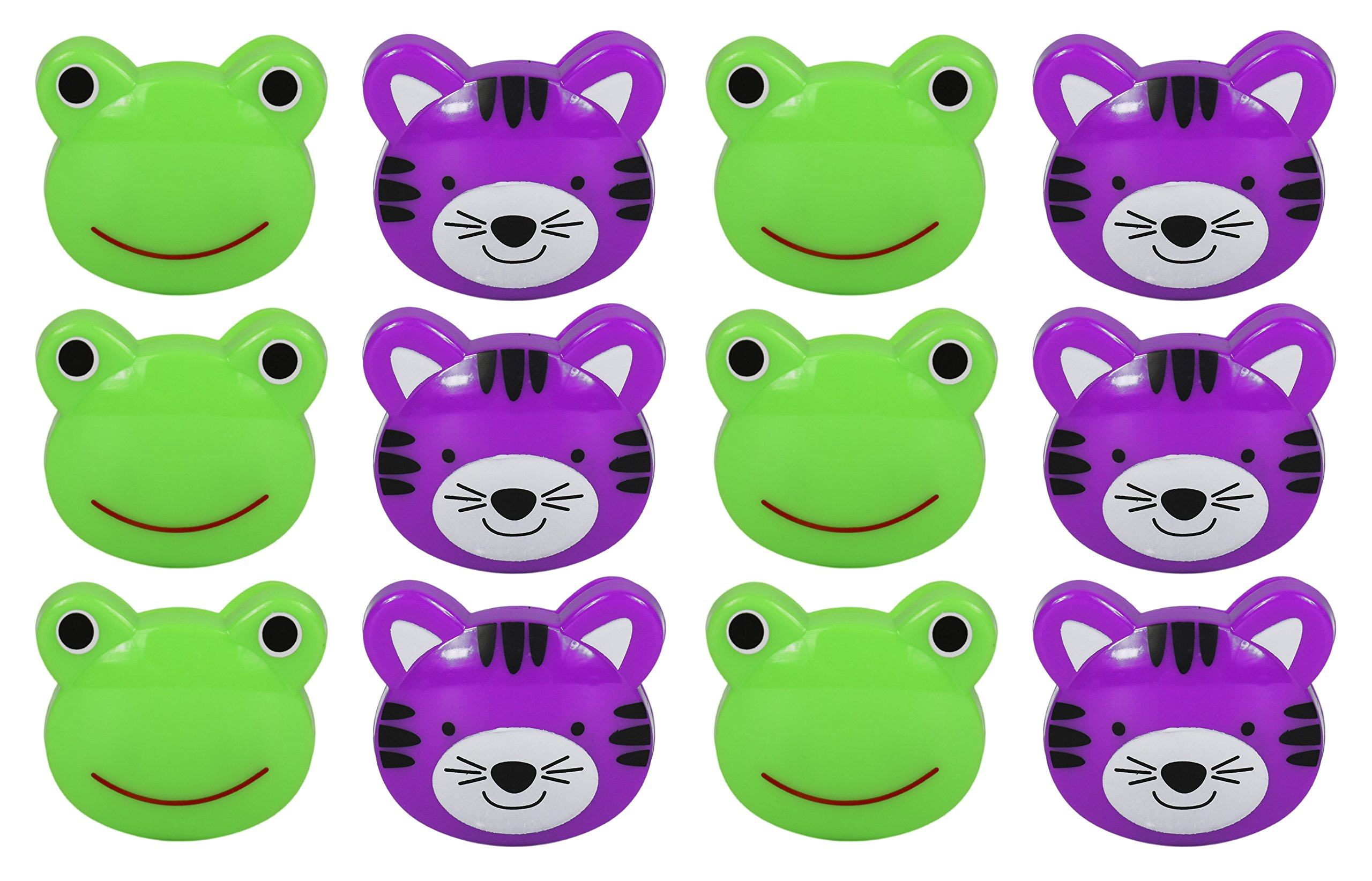 Set of 12 Purple Tiger and Green Frog Novelty Animal Face Bag Clips, Chip Clips, Paper Clips!