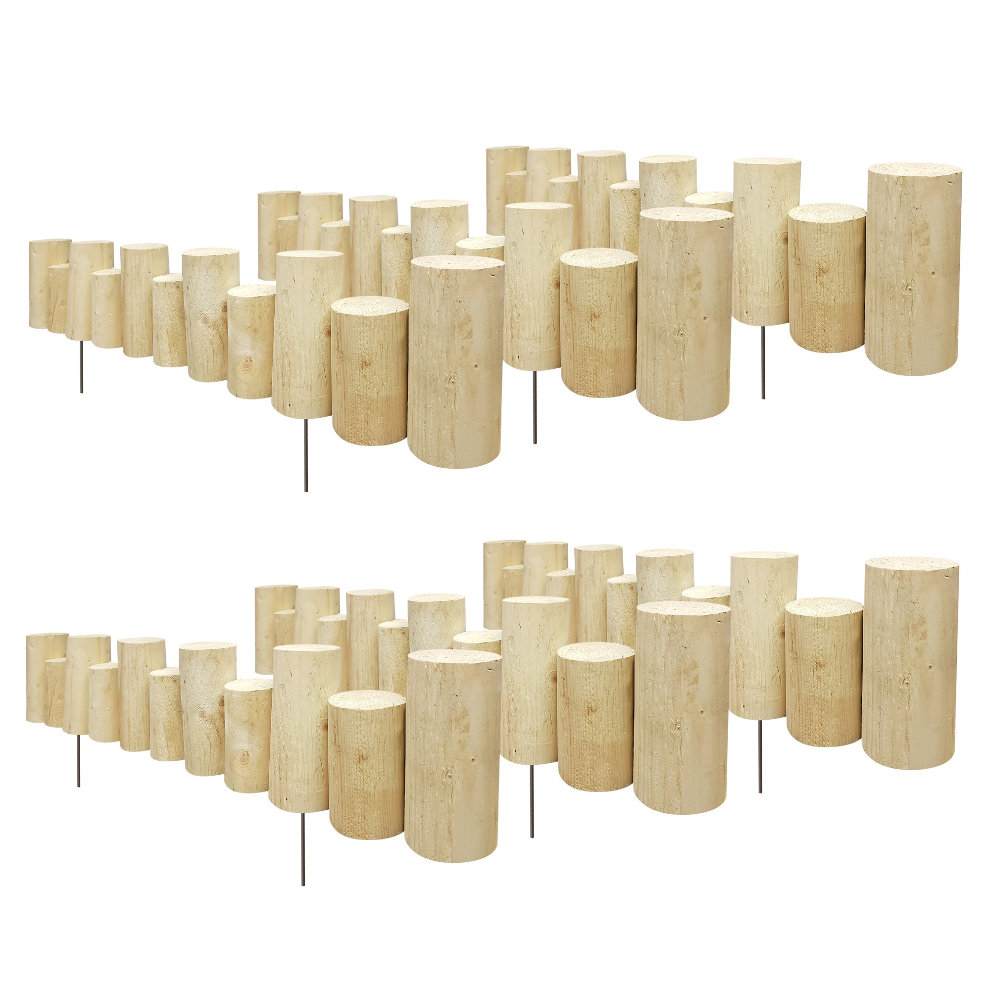 Greenes Fence Pressure Treated Staggered Full Log Edging, 3'' W x 3' L x 5-7 H (6-Pack)