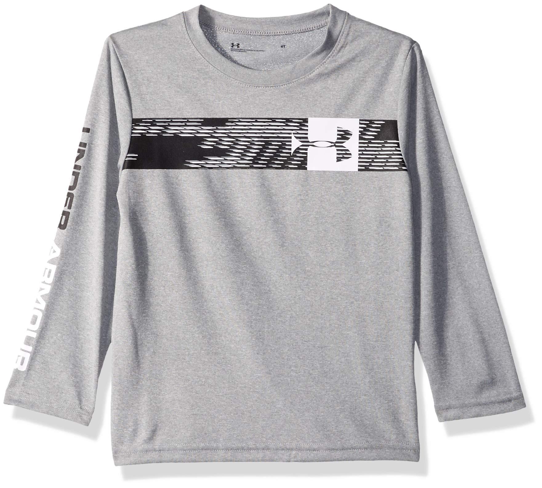 Under Armour Boys' Little Long Sleeve Graphic Tee Shirt, Travel True Grey Heather, 4