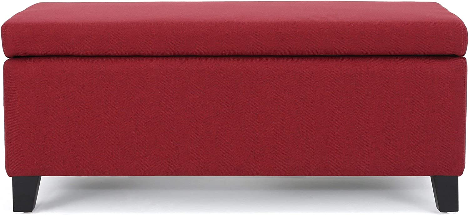 Christopher Knight Home Breanna Fabric Storage Ottoman, Deep Red