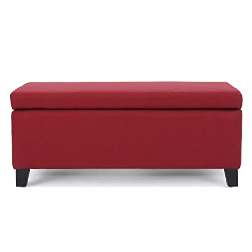 Christopher Knight Home Living Mataeo Fabric Storage Ottoman, Deep Red
