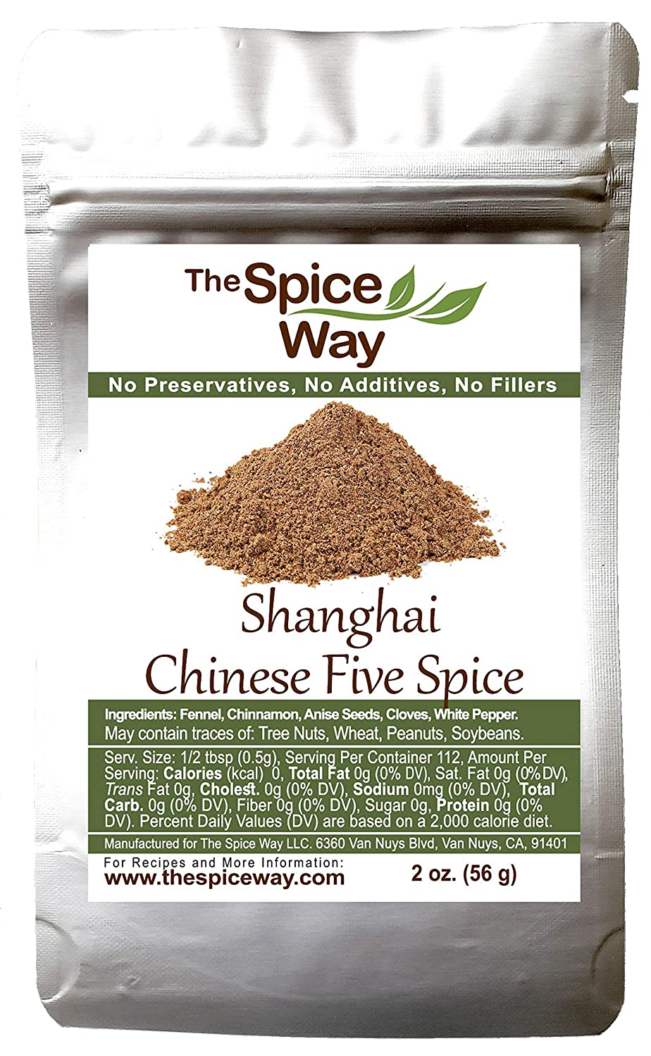 The Spice Way Shanghai Chinese Five Spice - A Traditional Chinese 5 spice seasoning ( 2 oz ) for Asian style dishes with the Chinese staples including pepper. All-purpose, No preservatives, No Salt